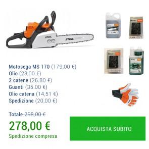 SUPER PROMO MOTOSEGA STIHL MS 170 + Olio + 2 catene + Guanti + Olio catena + Spedizione GRATIS