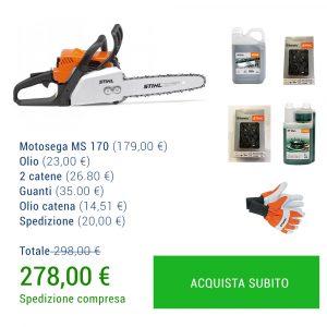 SUPER PROMO MOTOSEGA STIHL MS 170 + Olio + 2 catene + Guanti + Olio catena + Spedizione GRATIS-0